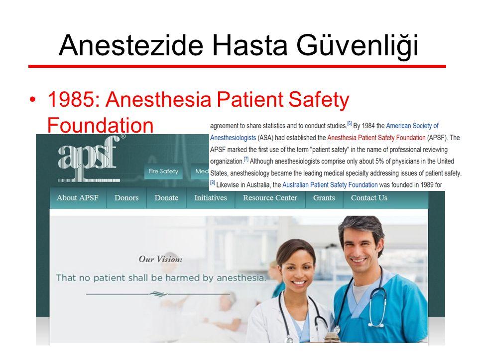 Anestezide Hasta Güvenliği 1985: Anesthesia Patient Safety Foundation