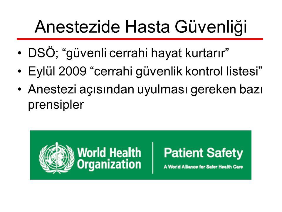 """Anestezide Hasta Güvenliği DSÖ; """"güvenli cerrahi hayat kurtarır"""" Eylül 2009 """"cerrahi güvenlik kontrol listesi"""" Anestezi açısından uyulması gereken baz"""
