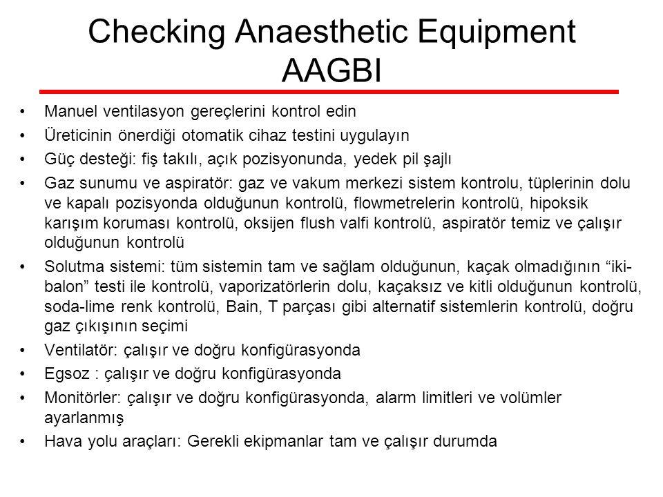 Checking Anaesthetic Equipment AAGBI Manuel ventilasyon gereçlerini kontrol edin Üreticinin önerdiği otomatik cihaz testini uygulayın Güç desteği: fiş