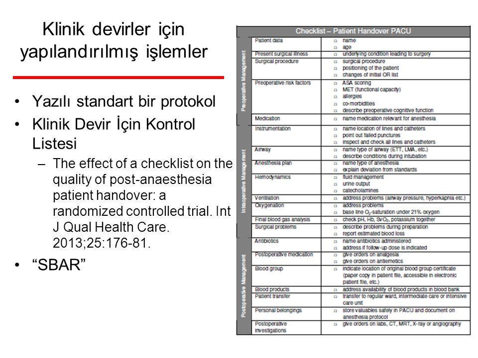 Klinik devirler için yapılandırılmış işlemler Yazılı standart bir protokol Klinik Devir İçin Kontrol Listesi –The effect of a checklist on the quality