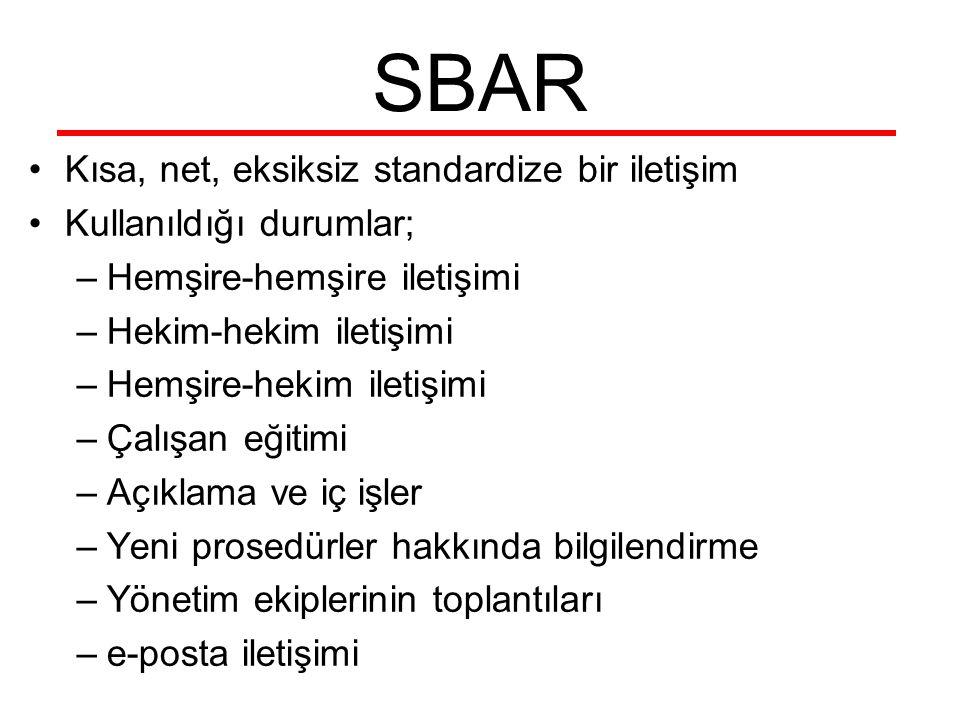 SBAR Kısa, net, eksiksiz standardize bir iletişim Kullanıldığı durumlar; –Hemşire-hemşire iletişimi –Hekim-hekim iletişimi –Hemşire-hekim iletişimi –Ç