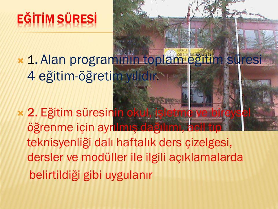  1.Alan programının toplam eğitim süresi 4 eğitim-öğretim yılıdır.