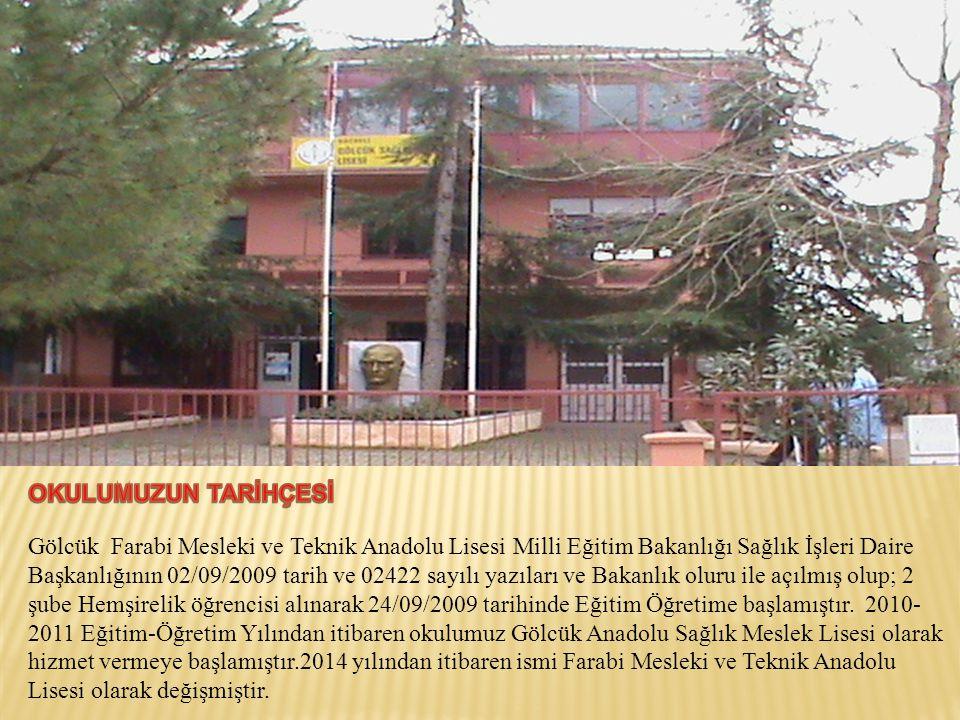 Gölcük Farabi Mesleki ve Teknik Anadolu Lisesi Milli Eğitim Bakanlığı Sağlık İşleri Daire Başkanlığının 02/09/2009 tarih ve 02422 sayılı yazıları ve Bakanlık oluru ile açılmış olup; 2 şube Hemşirelik öğrencisi alınarak 24/09/2009 tarihinde Eğitim Öğretime başlamıştır.