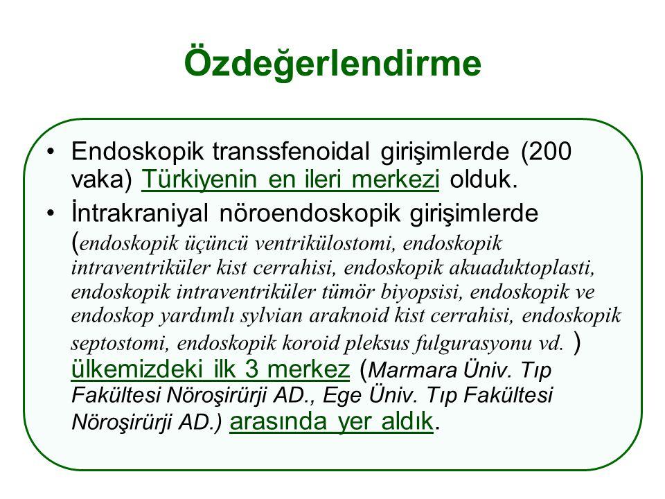 Özdeğerlendirme Endoskopik transsfenoidal girişimlerde (200 vaka) Türkiyenin en ileri merkezi olduk.