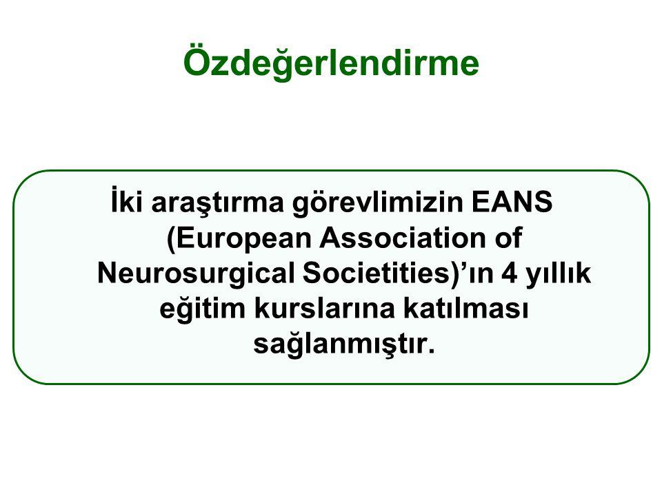 Özdeğerlendirme İki araştırma görevlimizin EANS (European Association of Neurosurgical Societities)'ın 4 yıllık eğitim kurslarına katılması sağlanmıştır.