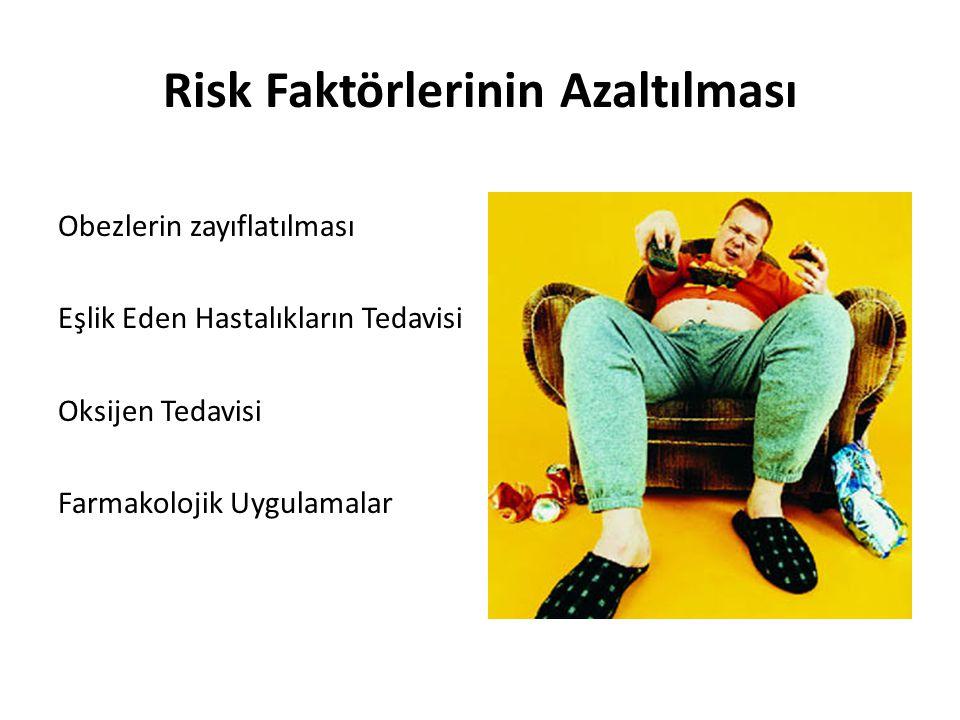 Risk Faktörlerinin Azaltılması Obezlerin zayıflatılması Eşlik Eden Hastalıkların Tedavisi Oksijen Tedavisi Farmakolojik Uygulamalar