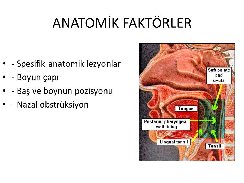 ANATOMİK FAKTÖRLER - Spesifik anatomik lezyonlar - Boyun çapı - Baş ve boynun pozisyonu - Nazal obstrüksiyon