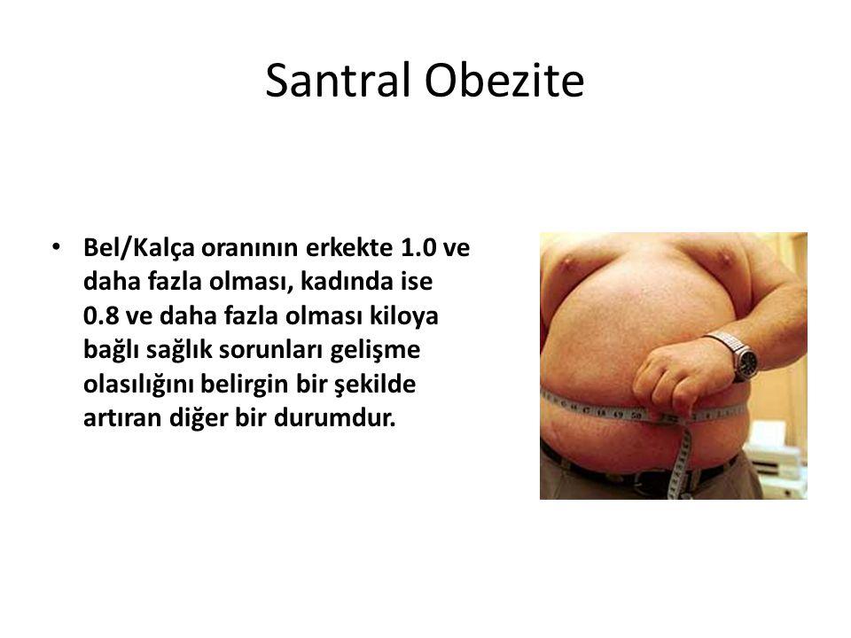 Santral Obezite Bel/Kalça oranının erkekte 1.0 ve daha fazla olması, kadında ise 0.8 ve daha fazla olması kiloya bağlı sağlık sorunları gelişme olasıl