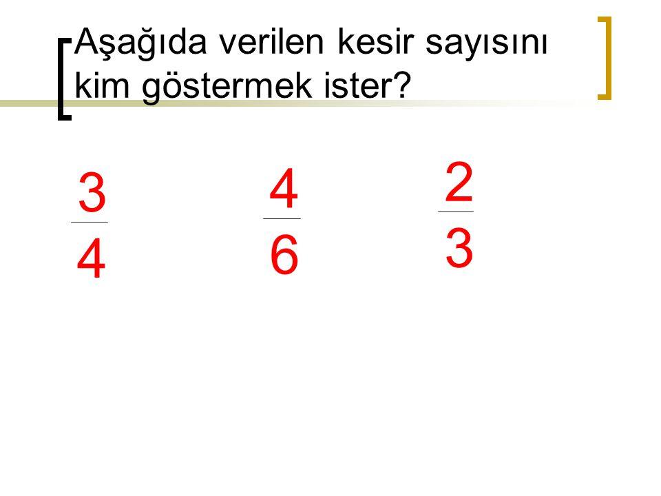 Aşağıda verilen kesir sayısını kim göstermek ister? 3434 4646 2323