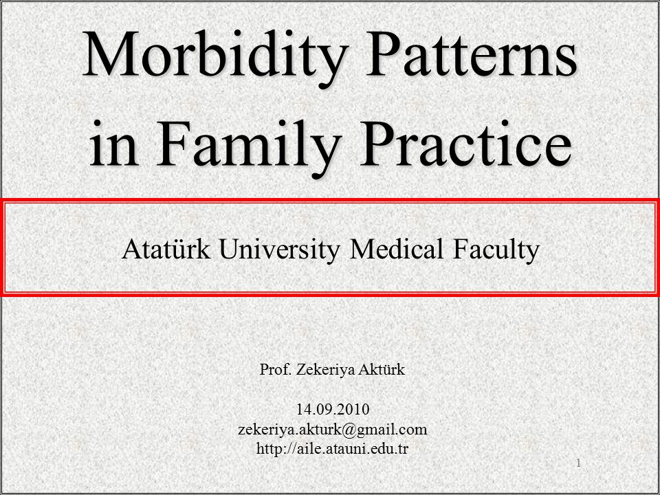 1 Morbidity Patterns in Family Practice Prof.