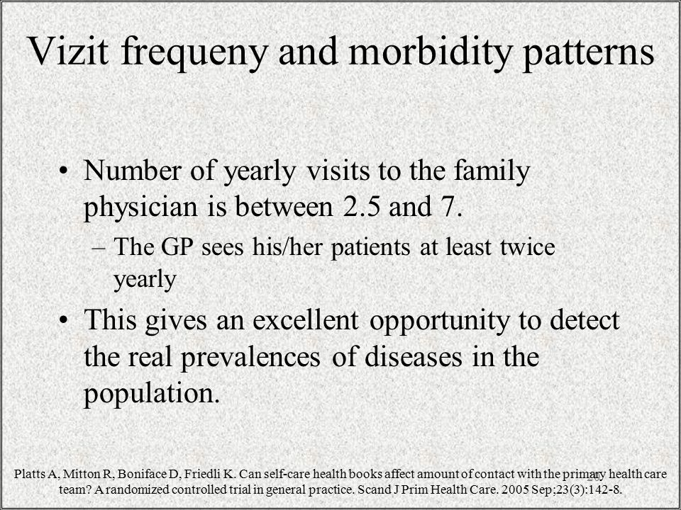 Vizit frequeny and morbidity patterns Number of yearly visits to the family physician is between 2.5 and 7.