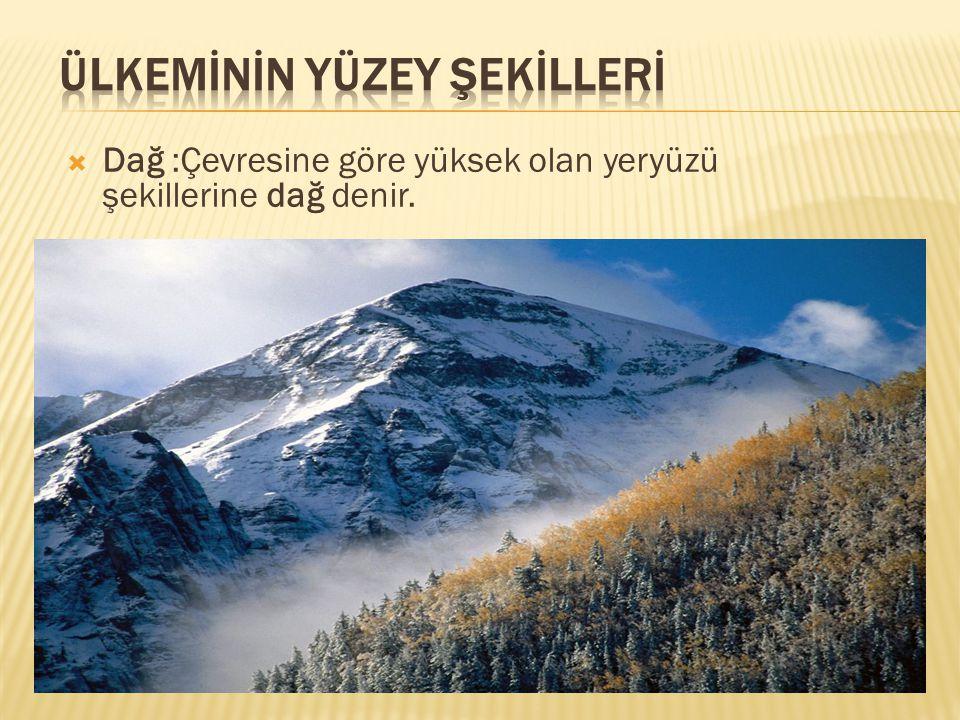  Dağ :Çevresine göre yüksek olan yeryüzü şekillerine dağ denir.