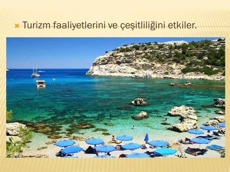  Turizm faaliyetlerini ve çeşitliliğini etkiler.