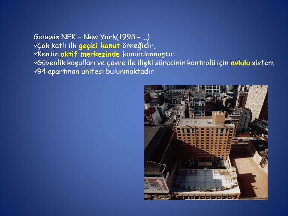 Genesis NFK – New York(1995 - …) Çok katlı ilk geçici konut örneğidir, Kentin aktif merkezinde konumlanmıştır.