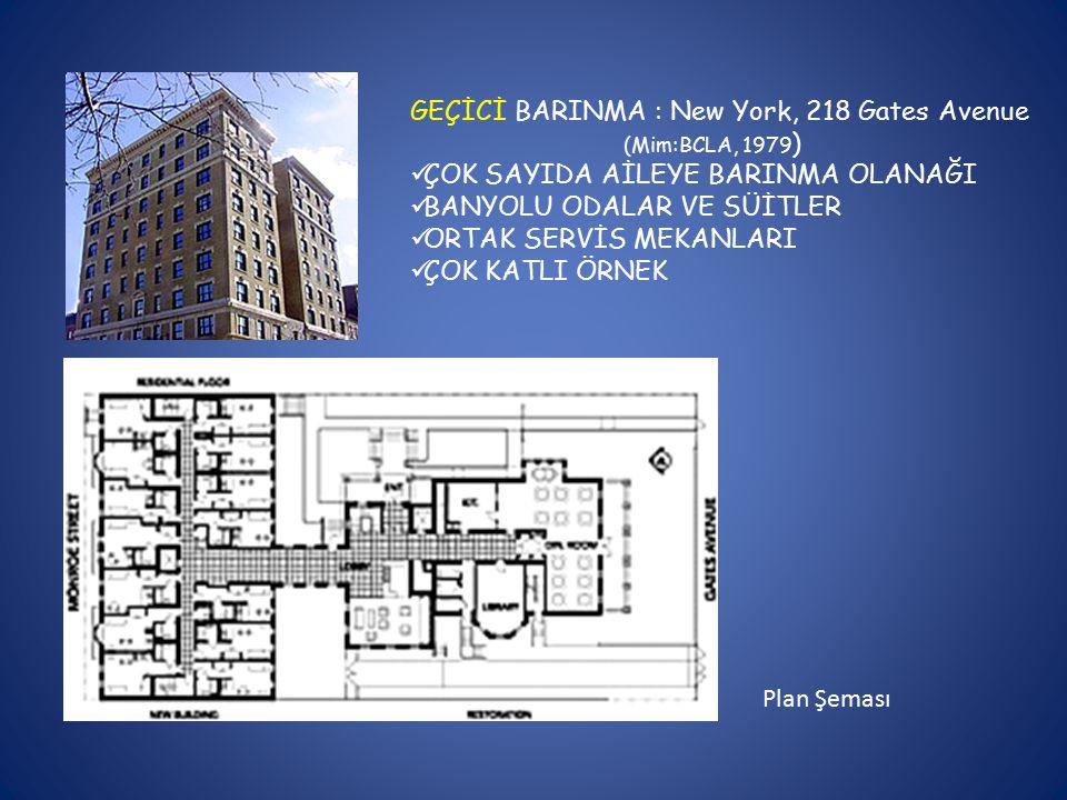GEÇİCİ BARINMA : New York, 218 Gates Avenue (Mim:BCLA, 1979 ) ÇOK SAYIDA AİLEYE BARINMA OLANAĞI BANYOLU ODALAR VE SÜİTLER ORTAK SERVİS MEKANLARI ÇOK KATLI ÖRNEK Plan Şeması