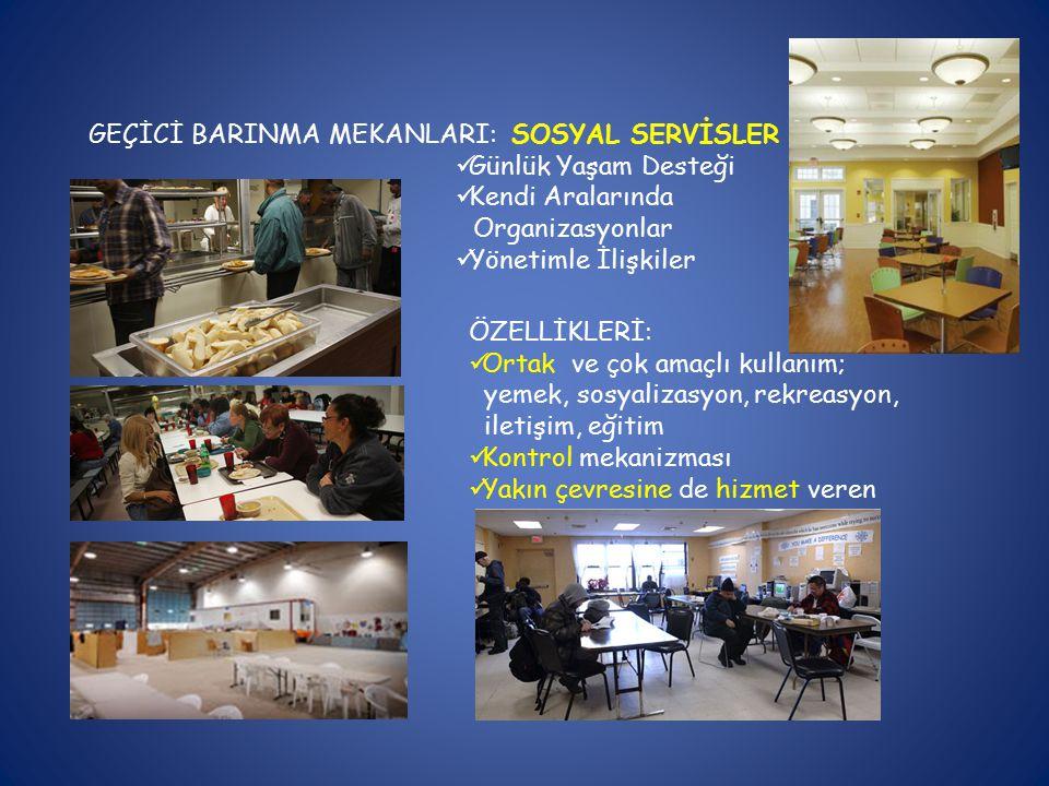 GEÇİCİ BARINMA MEKANLARI: SOSYAL SERVİSLER Günlük Yaşam Desteği Kendi Aralarında Organizasyonlar Yönetimle İlişkiler ÖZELLİKLERİ: Ortak ve çok amaçlı kullanım; yemek, sosyalizasyon, rekreasyon, iletişim, eğitim Kontrol mekanizması Yakın çevresine de hizmet veren