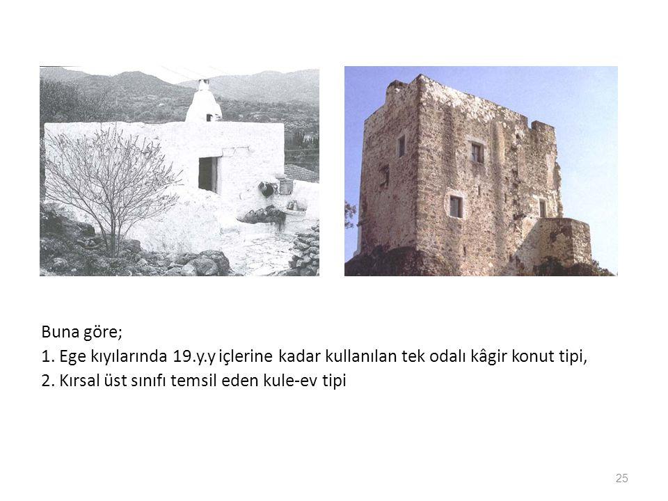 Buna göre; 1. Ege kıyılarında 19.y.y içlerine kadar kullanılan tek odalı kâgir konut tipi, 2. Kırsal üst sınıfı temsil eden kule-ev tipi 25