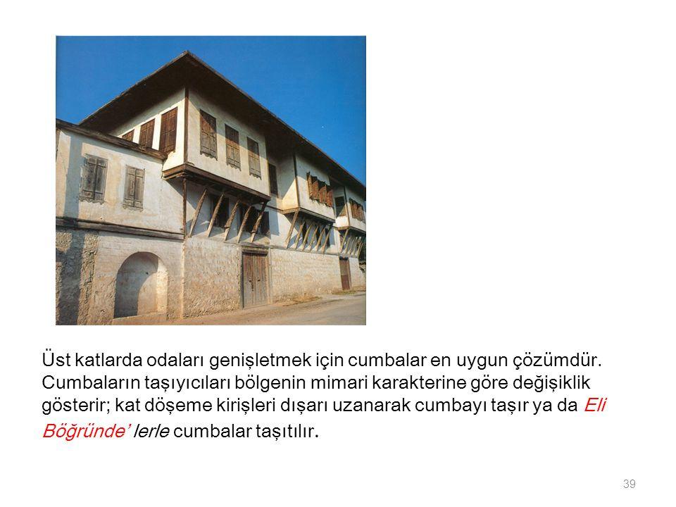Üst katlarda odaları genişletmek için cumbalar en uygun çözümdür. Cumbaların taşıyıcıları bölgenin mimari karakterine göre değişiklik gösterir; kat dö