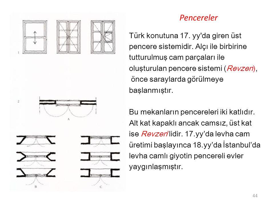 Pencereler Türk konutuna 17. yy'da giren üst pencere sistemidir. Alçı ile birbirine tutturulmuş cam parçaları ile oluşturulan pencere sistemi (Revzen)