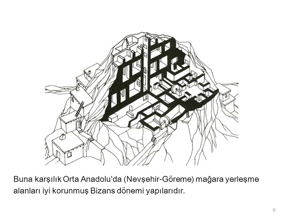 Buna karşılık Orta Anadolu'da (Nevşehir-Göreme) mağara yerleşme alanları iyi korunmuş Bizans dönemi yapılarıdır. 6