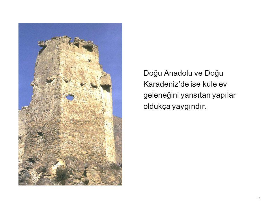 Doğu Anadolu ve Doğu Karadeniz'de ise kule ev geleneğini yansıtan yapılar oldukça yaygındır. 7