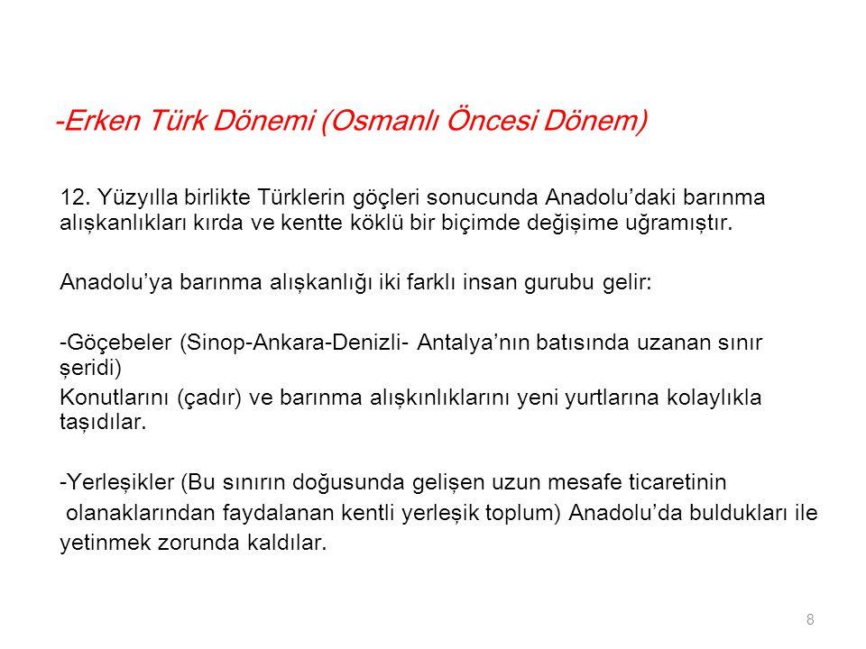 -Erken Türk Dönemi (Osmanlı Öncesi Dönem) 12. Yüzyılla birlikte Türklerin göçleri sonucunda Anadolu'daki barınma alışkanlıkları kırda ve kentte köklü