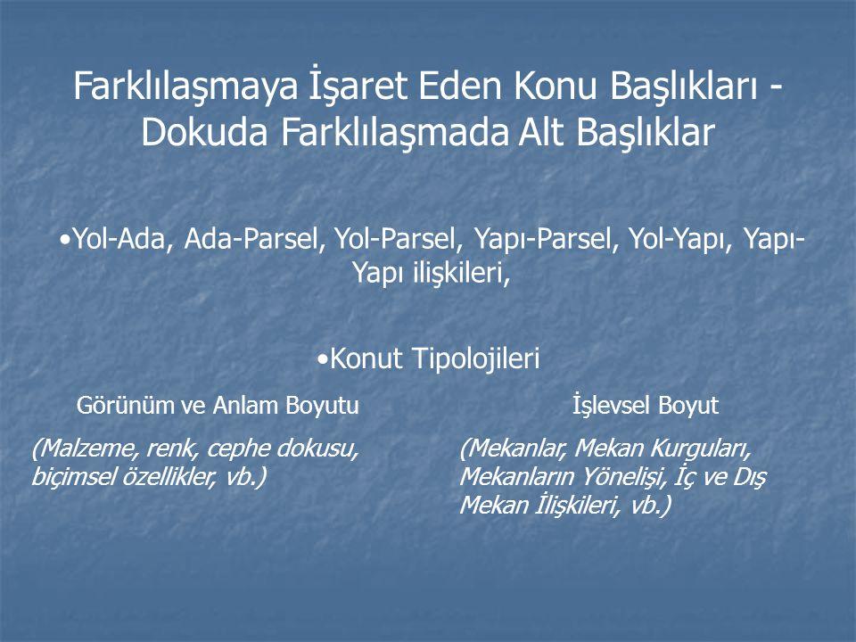 Farklılaşmaya İşaret Eden Konu Başlıkları - Dokuda Farklılaşmada Alt Başlıklar Yol-Ada, Ada-Parsel, Yol-Parsel, Yapı-Parsel, Yol-Yapı, Yapı- Yapı iliş