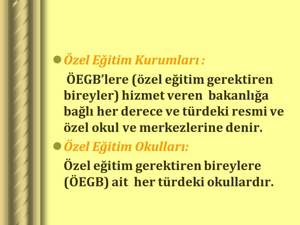 Özel Eğitim Kurumları : ÖEGB'lere (özel eğitim gerektiren bireyler) hizmet veren bakanlığa bağlı her derece ve türdeki resmi ve özel okul ve merkezler