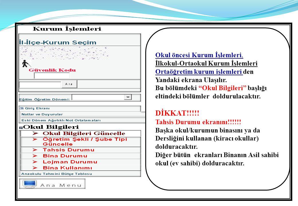  Büroda kullanılan bilgisayar sayıları Ve Eğitim amaçlı Kullanılan Bilgisayar sayıları : Mutlaka KBS kayıtlarındaki sayılar ile aynı olacak.