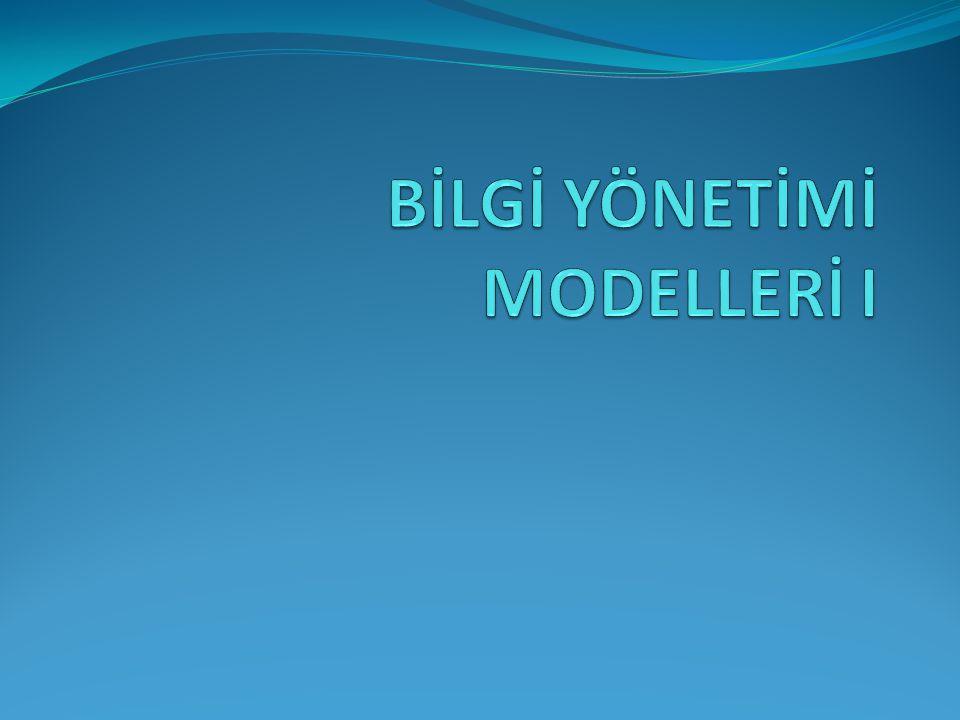 42 Bu modelin en önemli özelliği bilgi yönetimi çalışmalarının kurum dışı etkilerini dikkate almasıdır.