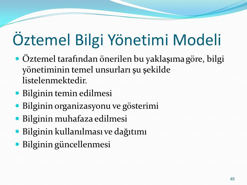 48 Öztemel Bilgi Yönetimi Modeli Öztemel tarafından önerilen bu yaklaşıma göre, bilgi yönetiminin temel unsurları şu şekilde listelenmektedir. Bilgini