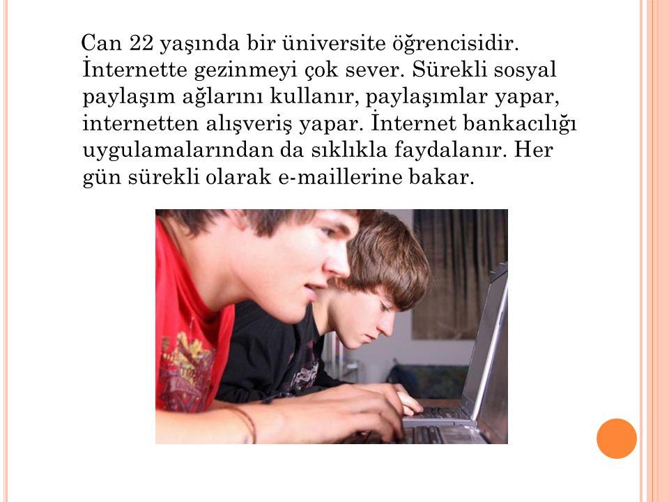 Can 22 yaşında bir üniversite öğrencisidir. İnternette gezinmeyi çok sever. Sürekli sosyal paylaşım ağlarını kullanır, paylaşımlar yapar, internetten