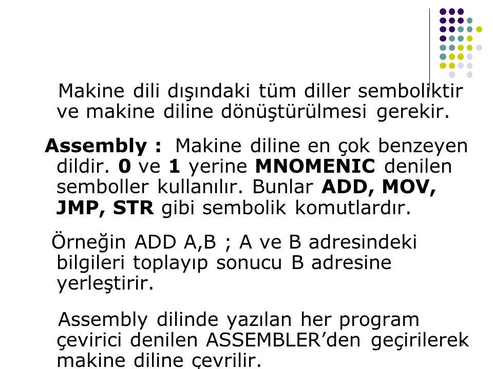 5 Makine dili dışındaki tüm diller semboliktir ve makine diline dönüştürülmesi gerekir. Assembly : Makine diline en çok benzeyen dildir. 0 ve 1 yerine