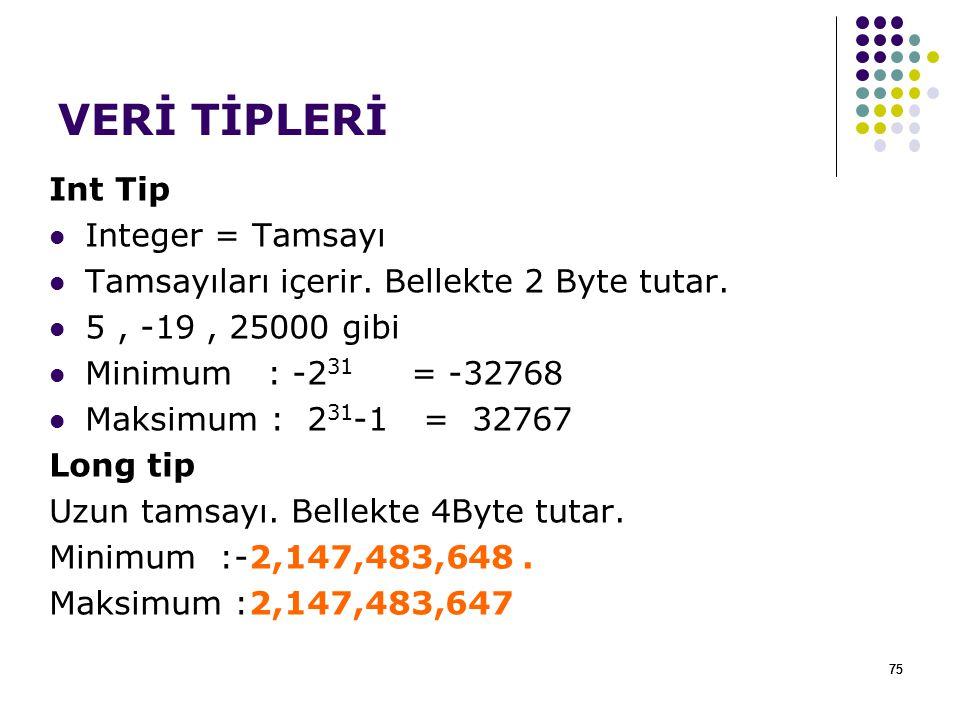 75 VERİ TİPLERİ Int Tip Integer = Tamsayı Tamsayıları içerir. Bellekte 2 Byte tutar. 5, -19, 25000 gibi Minimum : -2 31 = -32768 Maksimum : 2 31 -1 =
