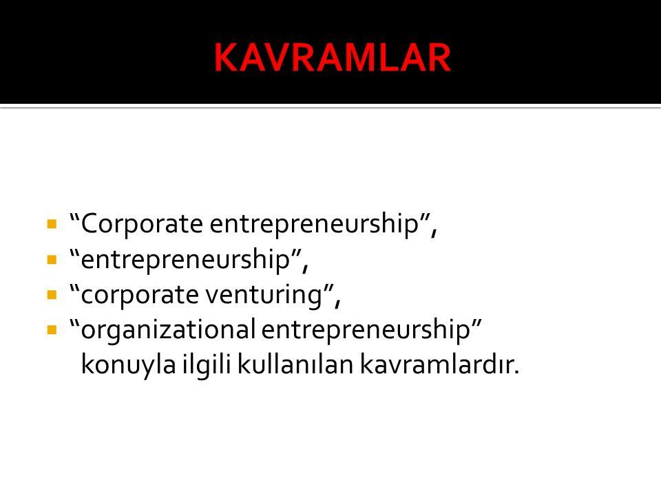 """ """"Corporate entrepreneurship"""",  """"entrepreneurship"""",  """"corporate venturing"""",  """"organizational entrepreneurship"""" konuyla ilgili kullanılan kavramlar"""