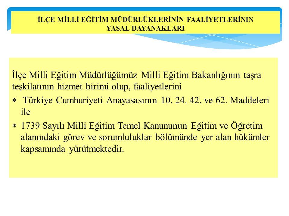İlçe Milli Eğitim Müdürlüğümüz Milli Eğitim Bakanlığının taşra teşkilatının hizmet birimi olup, faaliyetlerini  Türkiye Cumhuriyeti Anayasasının 10.