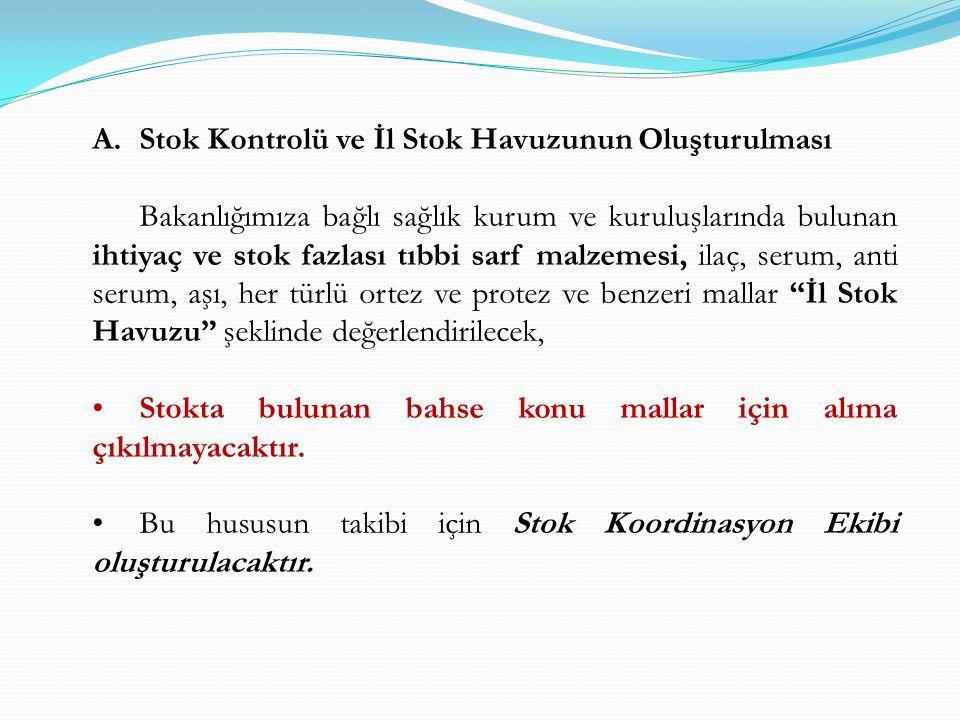 A.Stok Kontrolü ve İl Stok Havuzunun Oluşturulması Bakanlığımıza bağlı sağlık kurum ve kuruluşlarında bulunan ihtiyaç ve stok fazlası tıbbi sarf malze