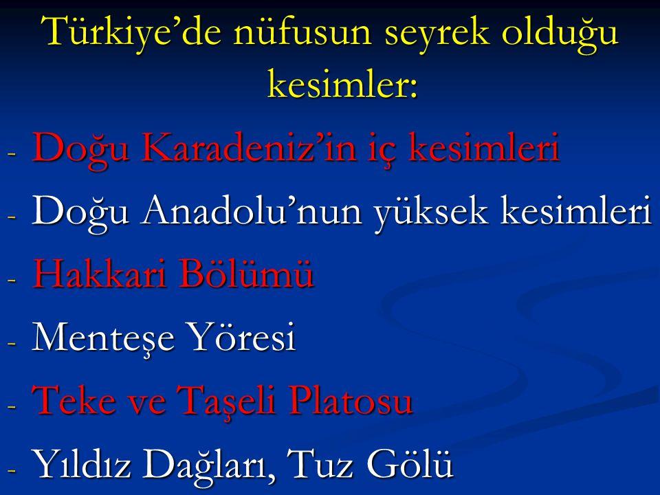 Türkiye'de nüfusun seyrek olduğu kesimler: - Doğu Karadeniz'in iç kesimleri - Doğu Anadolu'nun yüksek kesimleri - Hakkari Bölümü - Menteşe Yöresi - Te