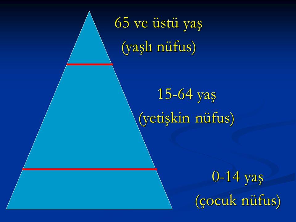 0-14 yaş (çocuk nüfus) 15-64 yaş (yetişkin nüfus) 65 ve üstü yaş (yaşlı nüfus)