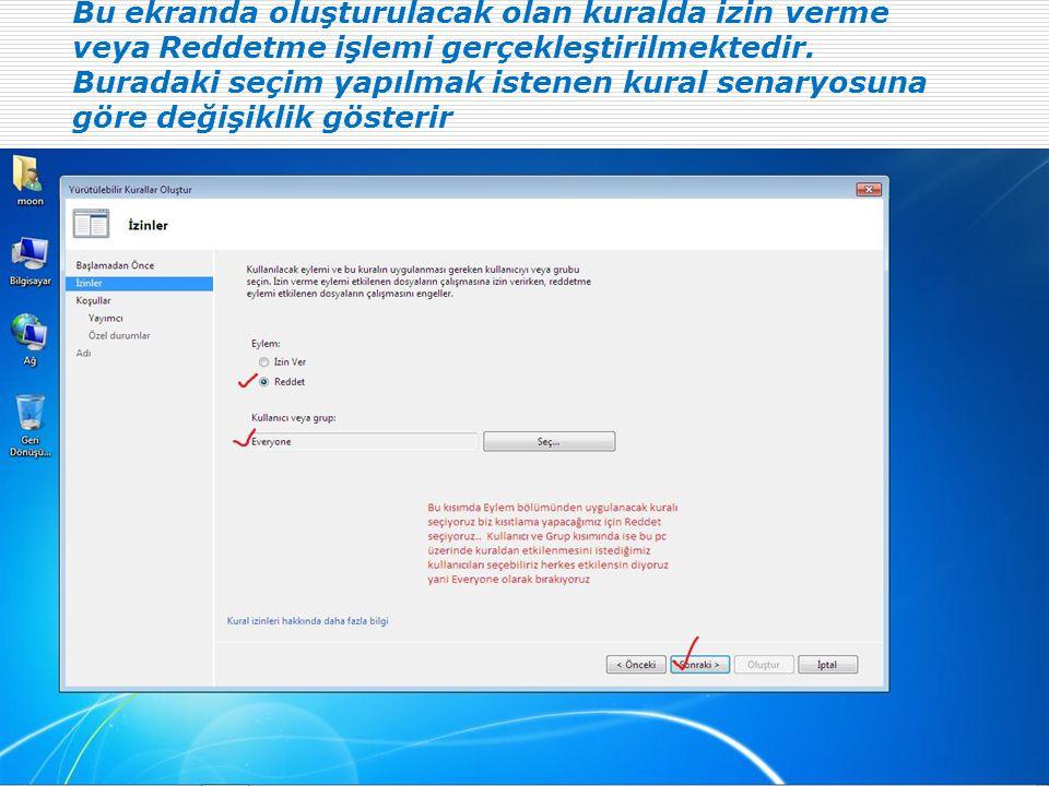 Bu ekranda oluşturulacak olan kuralda izin verme veya Reddetme işlemi gerçekleştirilmektedir.