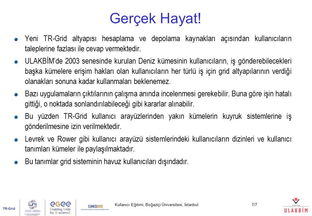 Kullanıcı Eğitimi, Boğaziçi Üniversitesi, İstanbul7/7 Yeni TR-Grid altyapısı hesaplama ve depolama kaynakları açısından kullanıcıların taleplerine fazlası ile cevap vermektedir.