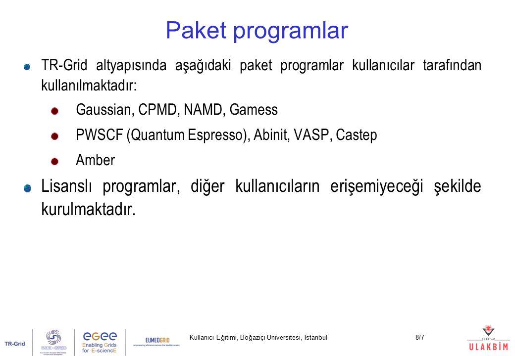 Kullanıcı Eğitimi, Boğaziçi Üniversitesi, İstanbul8/7 TR-Grid altyapısında aşağıdaki paket programlar kullanıcılar tarafından kullanılmaktadır: Gaussian, CPMD, NAMD, Gamess PWSCF (Quantum Espresso), Abinit, VASP, Castep Amber Lisanslı programlar, diğer kullanıcıların erişemiyeceği şekilde kurulmaktadır.
