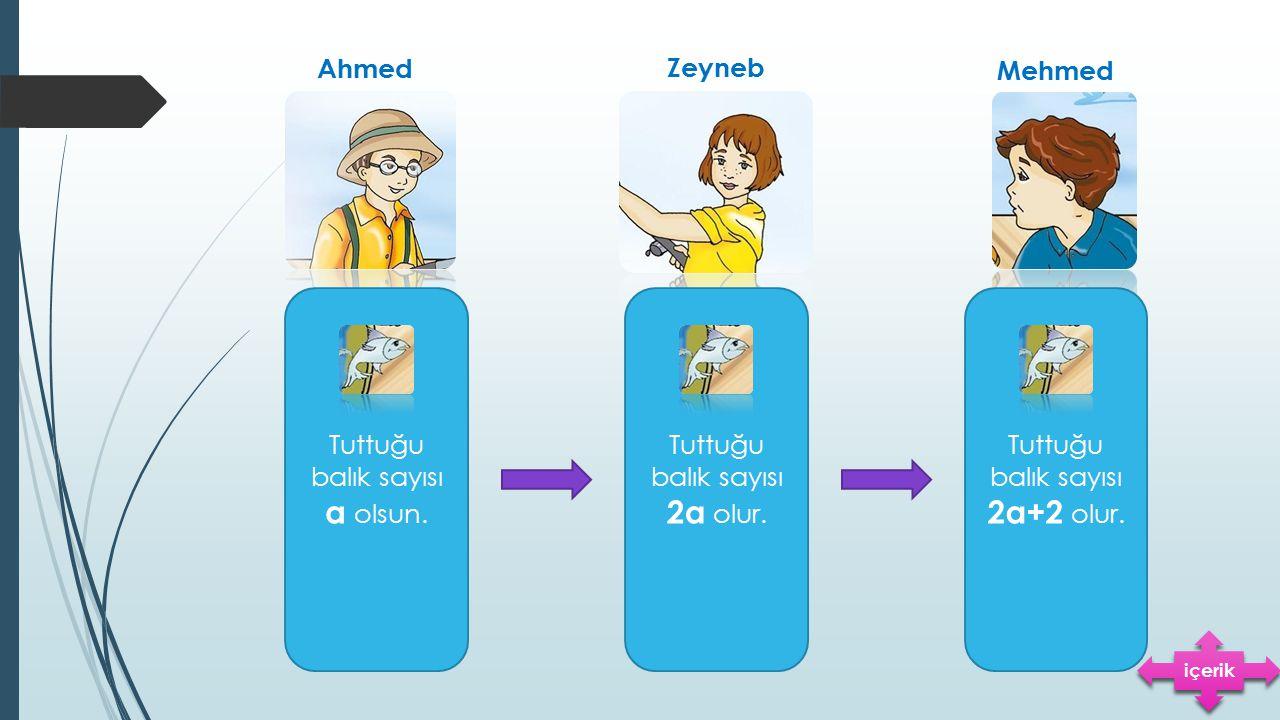 Ahmed Zeyneb Mehmed Tuttuğu balık sayısı a olsun. Tuttuğu balık sayısı 2a olur. Tuttuğu balık sayısı 2a+2 olur. içerik