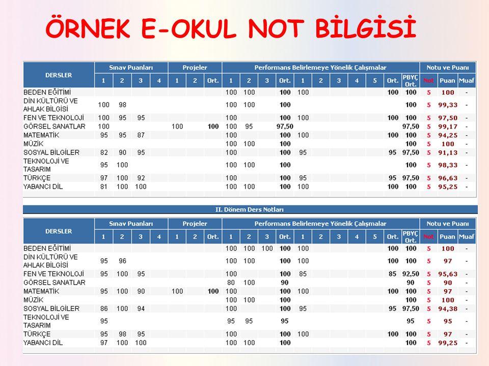 ÖRNEK E-OKUL NOT BİLGİSİ