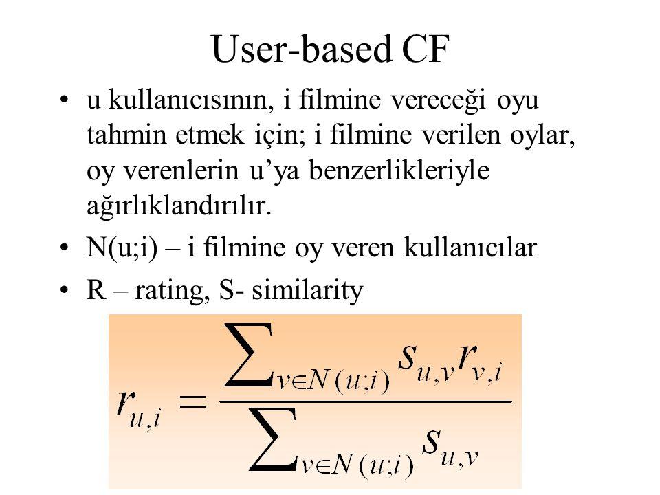User-based CF u kullanıcısının, i filmine vereceği oyu tahmin etmek için; i filmine verilen oylar, oy verenlerin u'ya benzerlikleriyle ağırlıklandırılır.