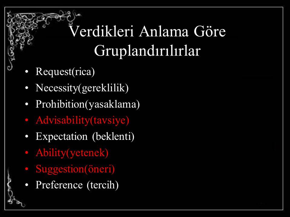 Verdikleri Anlama Göre Gruplandırılırlar Request(rica) Necessity(gereklilik) Prohibition(yasaklama) Advisability(tavsiye) Expectation (beklenti) Abili