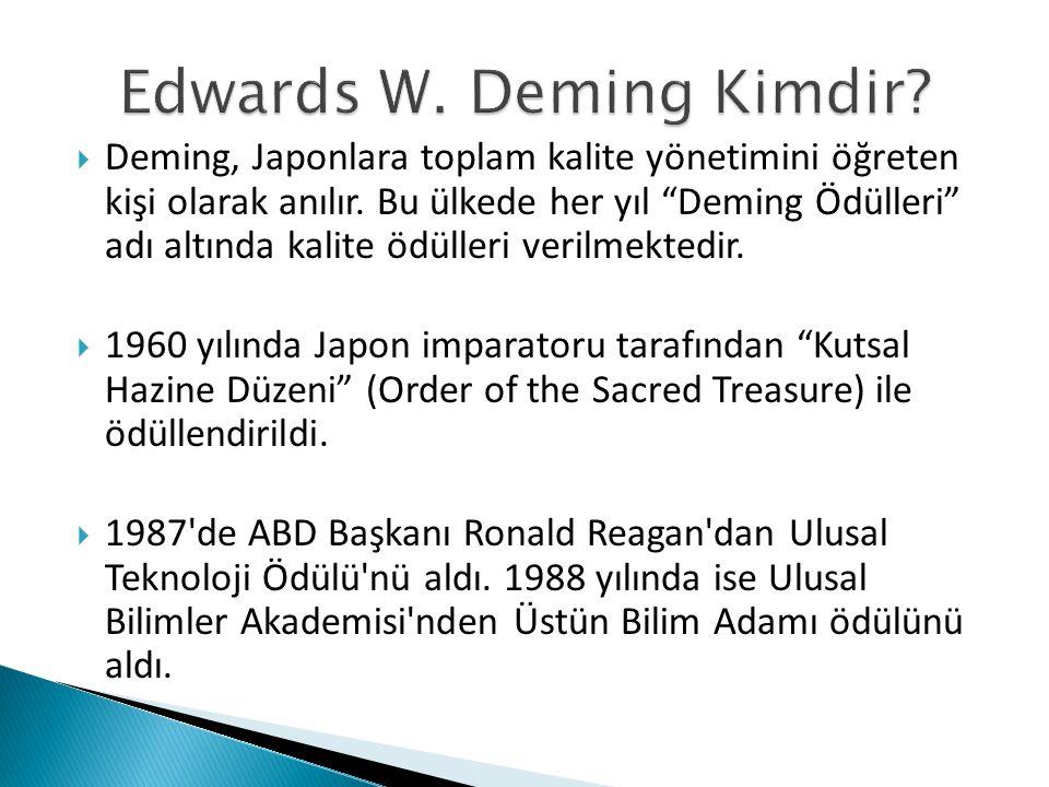Kantite değil, kalite önemlidir bakış açısından değerlendirildiğinde Deming, oldukça başarılı bir yönetim düşünürü olarak adını toplam kalite tarihine daha ölmeden önce de yazdırmıştır.
