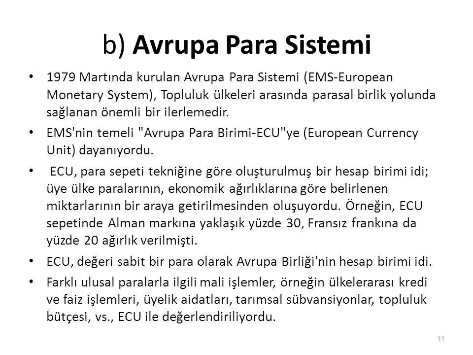 b) Avrupa Para Sistemi 1979 Martında kurulan Avrupa Para Sistemi (EMS-European Monetary System), Topluluk ülkeleri arasında parasal birlik yolunda sağlanan önemli bir ilerlemedir.