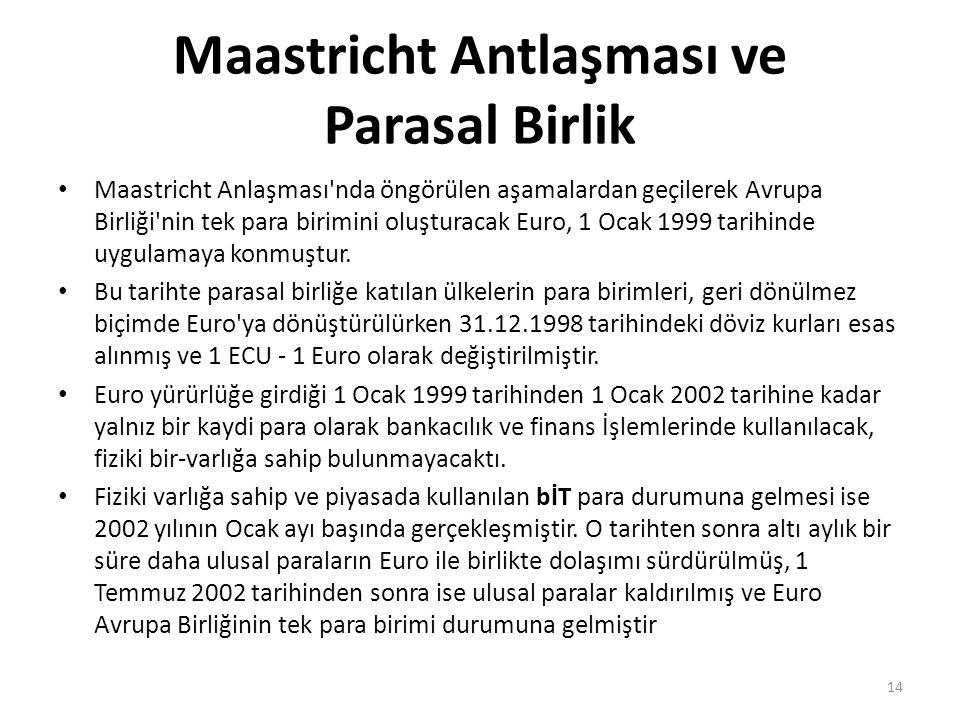 Maastricht Antlaşması ve Parasal Birlik Maastricht Anlaşması nda öngörülen aşamalardan geçilerek Avrupa Birliği nin tek para birimini oluşturacak Euro, 1 Ocak 1999 tarihinde uygulamaya konmuştur.