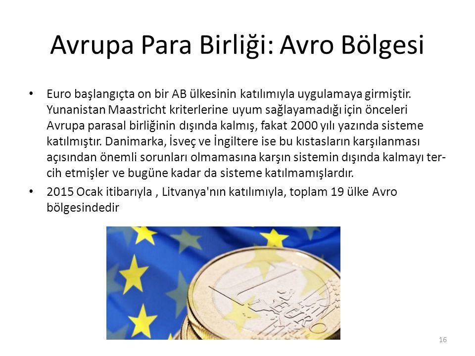 Avrupa Para Birliği: Avro Bölgesi Euro başlangıçta on bir AB ülkesinin katılımıyla uygulamaya girmiştir.